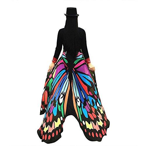 Amcool Schön Schmetterlings Flügel ✿✿ Schmetterling Kostüm Chiffon Schals Feenkostüm Damen Karneval Cosplay Accessoires (197*125CM, ()