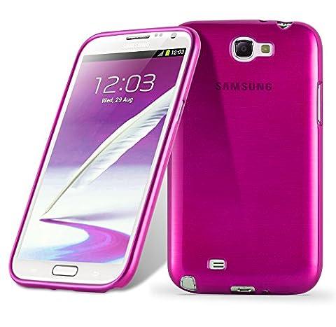 Samsung Galaxy NOTE 2 Silikon-Hülle in PINK von Cadorabo - TPU Schutz-hülle Edelstahl-Optik gebürstet BRUSHED Design – Handy-hülle Bumper Case Cover in PINK