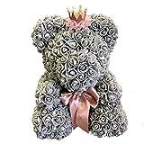 """MJK Rosa artificiale, fiori a forma di orsacchiotto Cub orsetto decorativo con corona per sempre Anniversario regalo di nozze per San Valentino di Natale 14""""(40Cm)"""