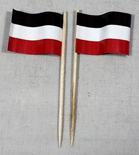 Party-Picker Flagge Deutschland Kaiserreich Papierfähnchen in Profiqualität 50 Stück 8 cm Offsetdruck Riesenauswahl aus eigener Herstellung