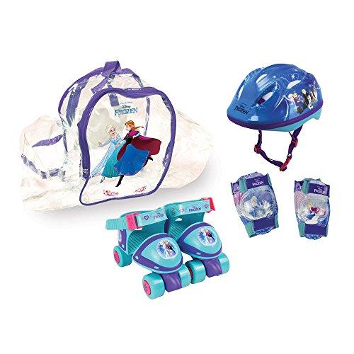 Disney Frozen - Pattini a rotelle con set di protezioni e borsa, misura 24-29