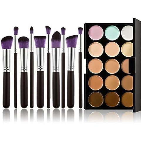 Pure Vie® 10 Stück Make Up Pinsel + 15 Farben Concealer Abdeckcreme Camouflage Palette Cover Abdeck Makeup