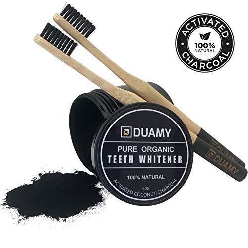 Kit de blanqueamiento dental con carbón activado natural. El pack contiene 60 gr de polvo de carbón activo y 2 cepillos de bambú 100% biodegradables, naturales y ecológicos. Pasta negra.