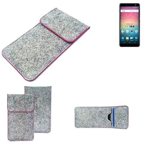 K-S-Trade® Filz Schutz Hülle Für -Allview V3 Viper- Schutzhülle Filztasche Pouch Tasche Case Sleeve Handyhülle Filzhülle Hellgrau Pinker Rand