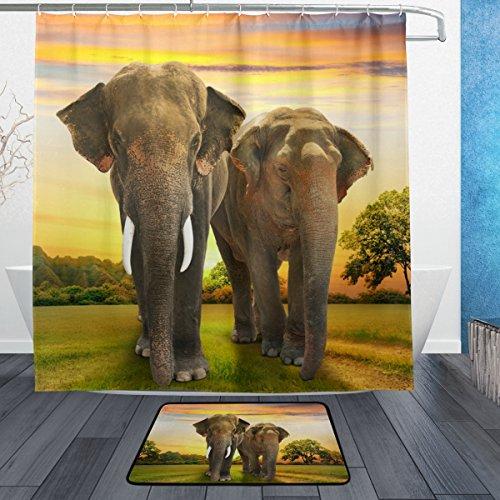 COOSUN Los Elefantes Familia en la Puesta del Sol de baño Conjunto,...