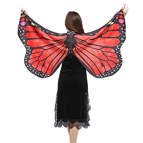 WOZOW Damen Schmetterling Flügel Kostüm Nymphe Pixie Umhang Faschingkostüme Schals Poncho Kostümzubehör Zubehör (Rot) (Voodoo Pirat Kostüm)