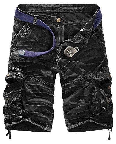 TDOLAH Herren Cargo 1/2 Shorts Capri Chino Kurze Hose Jeans Camo ohne Gürtel Darkcamo