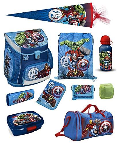 Familando Avengers Schulranzen-Set 10tlg. Scooli Campus Fit mit Sporttasche Schultüte 85cm und Regenschutz