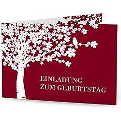 greetinks 20 x Einladungskarten zum Geburtstag (1-99 Jahre) 'Lebensbaum' in Rot | Personalisierte Geburtstagskarten zum selbst gestalten | 20 Stück Geburtstagseinladungen für JEDES Alter