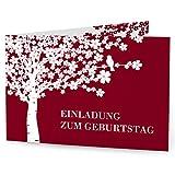 greetinks 5 x Einladungskarten zum Geburtstag (1-99 Jahre) 'Lebensbaum' in Rot | Personalisierte Geburtstagskarten zum selbst gestalten | 5 Stück Geburtstagseinladungen für JEDES Alter