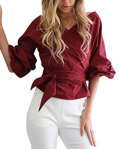 Donna Maglietta Camicetta Casual ufficio Elegante Cotone Scollatura Senza Spalline rosso