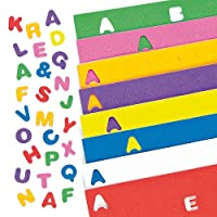 Baker Ross EC170 Self Adhesive Uppercase Alphabet (Pack of 600) Puffy Scrapbook Stickers in Fun Foam Shapes, Assorted