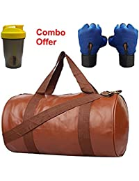 SKYSONS Gym Bag Combo Set Enclosed With Soft Leather Gym Bag For Men And Women For Fitness - Bag Size 49cm X 24cm... - B07DXT1HLC