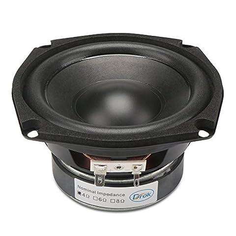 DROK® Einzel Magnetic 40W HIFI Subwoofer-Lautsprecher, 4Ω 4,5-Zoll-Lautsprecher mit Super-Low-Bass,