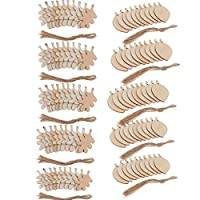 Backbayia 100 Pieces Cut Out Wooden Label Slices Embellishment Ornament Leaf Shapes