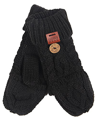 Aran Workshop Black Foldover Cable Knit Fingerless Mitts - Cable Knit Mitt