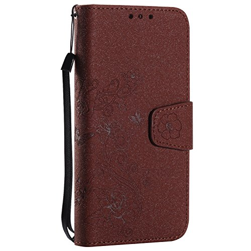 Detchable 2 in 1 PU + TPU Ledertasche Embossed Blumen Style Shining Sparkles Brieftasche Stand Case Cover mit Kreditkarte Slots & Lanyard & Magnetic Closure für Samsung Galaxy J3 2016 ( Color : Rose G Brown