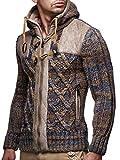 LEIF nELSON lN20225 cardigan en tricot pour homme, Marron, Large