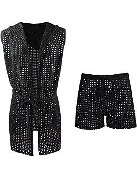 Homyl Set de Pantalones Deportivos Huecos Cinturón Albornoz Ropa Interior de Malla Transparente Suave