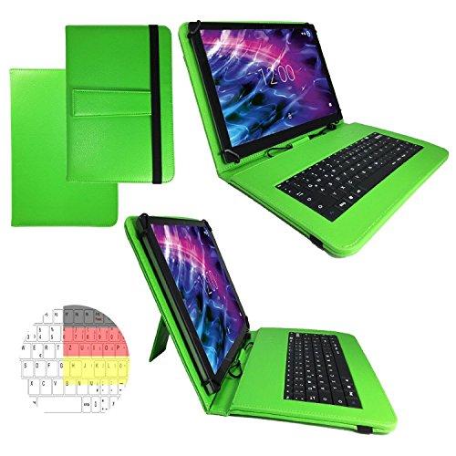 Allview Viva H1001 LTE - Qwertz Tastatur Tablet Tasche 10.1 mit Standfunktion - Deutsche Tastenbelegung - 10.1 Zoll Grün Tastatur