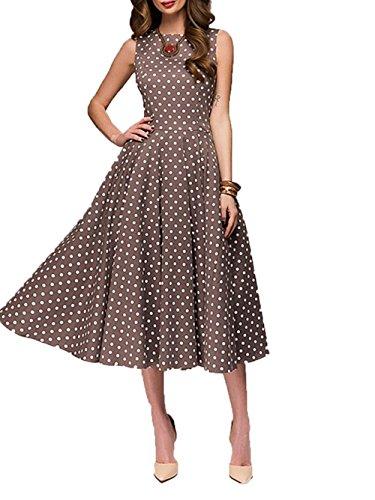 Vintage-braun Polka Dot (Famulily Damen Sommer Gepunktet Kleid Vintage Midikleider(EU38,Braun))