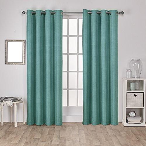 Exclusive Home Vorhänge eh8090–042–108g Raw Seide Isolierter Thermo-Tülle Fenster Vorhang Panel, Blaugrün, 54x 274cm, Set von 2 (Tülle Silk)