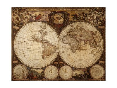 Vintage Map par Kuzma, 82x61 cm