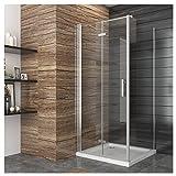 Duschkabine Eckeinstieg 90x80cm Falttür Duschabtrennung Duschtür Eckdusche Duschwand aus Sicherheitsglas