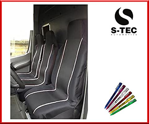 LDV CONVOY 96-05 REAR WHEEL DRIVE - S-tech Comfortable Premium Deluxe Black With White Piping Van Seat Covers 2+1 | FREE S-TECH PEN