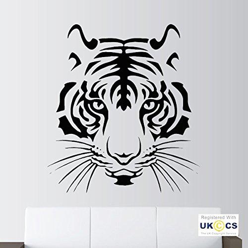 Cooler Tiger-Kopf-Tier-Safari-Zoo Schlafzimmer Cat Wall Art Aufkleber Aufkleber Vinyl-Raum Schlafzimmer Jungen Mädchen Kinder Erwachsene Heim Wohnzimmer Zitate Küche Badezimmer Accessoires Mural (Aus Kopf Vinyl Decal)