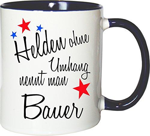 Mister Merchandise Becher Tasse Helden ohne Umhang nennt Man Bauer Kaffee Kaffeetasse liebevoll Bedruckt Beruf Job Geschenk Weiß-Blau
