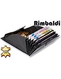 Rimbaldi - Supergroße Kellnerbörse, geeignet für mehrere Währungen mit riesengroßem Hartgeldfach aus weichem Kalbsleder in Schwarz