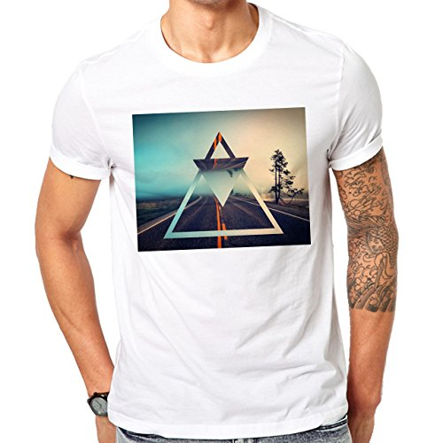 Illuminati Triangle Art Majestic Tree Road Mirror Herren T-Shirt Weiß