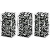 Conjunto de 3 Gaviones Pared Alambre Galvanizado 25 x 25 x 50 cm