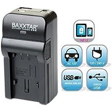 Baxxtar Razer 600 - Cargador 5 en 1 para batería Panasonic DMW BCM13 Lumix DMC TZ71 TZ70 TZ61 TZ60 TZ56 TZ55 TZ40 TZ41 TZ37 ZS30 ZS35 ZS40 TS5 FT5 etc. ( 70% más de potencia, 100% más de flexibilidad) con entrada de MicroUSB y salida USB para recarga de otros dispositivos móviles)