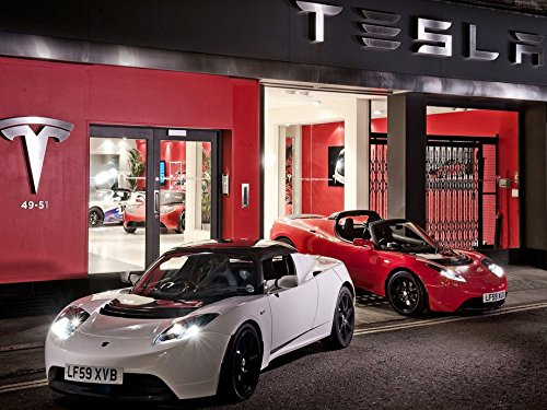 Infinite Arts Tesla Roadster (32inch x 24inch/80cm x 60cm) Silk Print Poster - Silk Printing - 0845FA