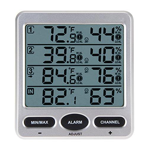 DOMYBEST Thermomètre Thermique sans Fil à l'Intérieur / Extérieur 8 Canaux