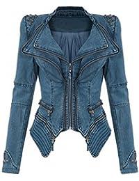 06d995d22917 SMITHROAD Damen Blogger Studded Jeansjacke Blazer Punk Biker Nieten jacke  Spike Kurze Schulter Jeans Jacke