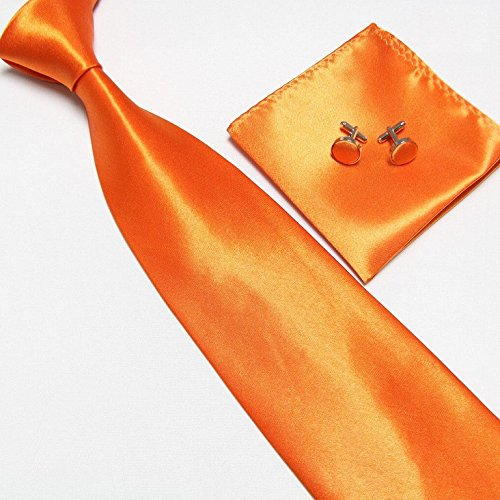 cravate-pochette-bouton-de-manchettes-satinee-orange-neuf