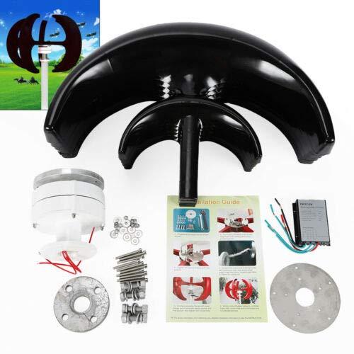 BTdahong 400W 12V Windkraftanlage Generator Vertikal Axis mit Controller 5 Blätter Schwarz Lantern Wind Turbine Generator für Garten Lärmarm -