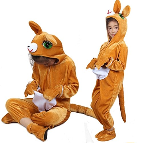 (Kinder Tier Kostüme mit Kapuze Kostüm Party Unisex Outfit Pyjamas Cosplay (Känguru, XL (Für Kinder von 135-150 cm)))