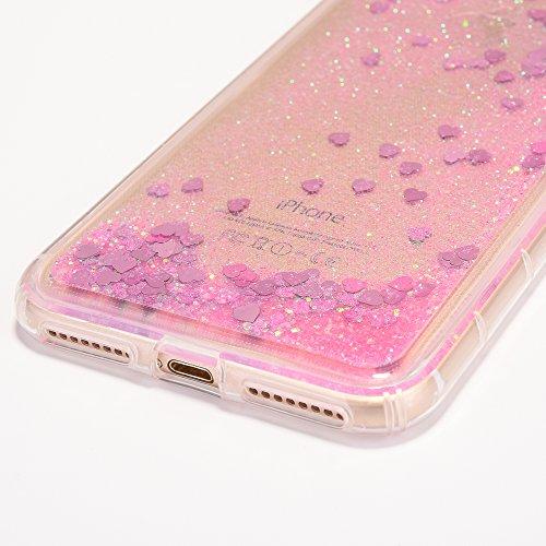 iPhone 8 Plus Hülle, Voguecase Anti-Fall-Treibsand Silikon Schutzhülle / Case / Cover / Hülle / TPU Gel Skin für Apple iPhone 7 Plus/iPhone 8 Plus 5.5(Star/Rose Gold) + Gratis Universal Eingabestift Liebe/Pink