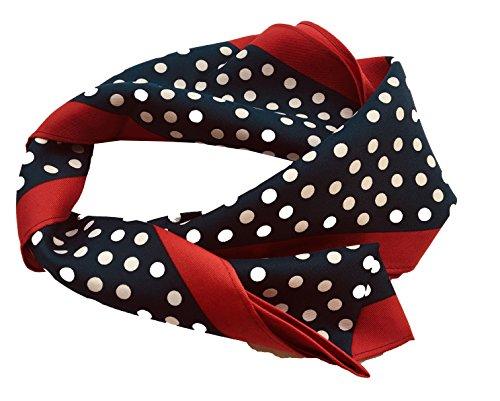 Foulard mujer azul topos blancos franja roja izquierda