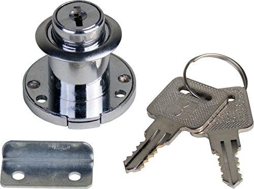 1 Schrankschloss Möbelschloss Einbauschloss Klappenschloss aus Metall und Kunststoff vernickelt / weiss mit Schlüssel 35mm