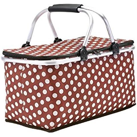 Cesta de picnic, GETALL aislado plegable plegable Picnic cesta Zip cierre canasta con asas para Picnic al aire libre (Café)