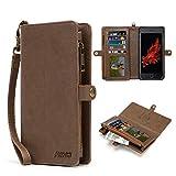 Multifunzionale in pelle per iPhone 7Plus/8Plus, Megshi zipper custodia a portafoglio, borsetta con staccabile magnetica della copertura, custodia in pelle con carta di credito slot 5.5 Inch 890v6