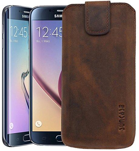Samsung Galaxy S6 (SM-G920F) / Samsung Galaxy S6 Edge (SM-G925F) / Original Suncase® Tasche Leder Etui Handytasche Ledertasche Schutzhülle Case Hülle *mit Zieh-Lasche* antik-coffee