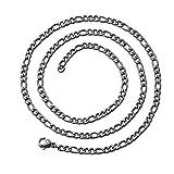 tumundo Zarte Figaro-Kette Halskette Ø 3mm Edelstahl-Kette Silbern Golden Schwarz Armband Panzerkette Königskette Unisex, Farbe:Silber - 55cm