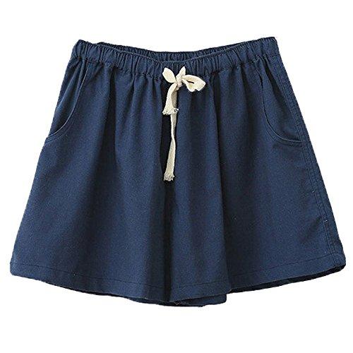 Minetom Donne Ragazze Estate Casuale Pantaloncini Biancheria Cotone Pantaloncini Moda Spiaggia Pantaloncini Nuovo Blu Scuro Eu S