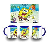 MERCHANDMANIA Taza Azul Bob Esponja Dibujo PIÑA MAR Color mug